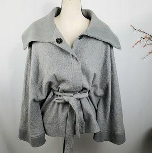 Free People Olmstead Gray Cape Jacket Wool Blend